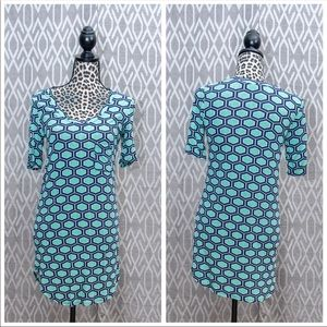Hourglass Lilly Tunic Patterned Print Teal
